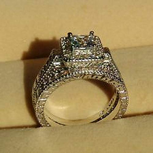 Lovely Ring - Vintage White Sapphire Diamonique 10KT White Gold GF Wedding Ring Set Size6