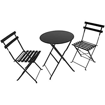 Image of Home and Kitchen RDTIAN Table & Chair Sets, Outdoor 3 Piece Patio Set Foldable Patio Table and Chairs, Black