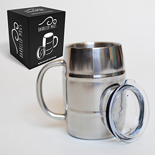 Famous Stainless Steel Beer Mug w/ Bonus Lid, 17oz Dual Wall Air Insulated Beer & Beverage Mug / Coffee Cup - Keep Your Beer Colder & Coffee Hotter Longer - A Mans Mug