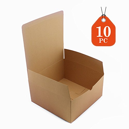 X 4 inches Kraft Boxes Cardboard Gift Box with Lids for Wedding Birthday Holiday Baby Shower Favor (Brown, 8 X 8 X 4) (Brown Wedding Favor Boxes)