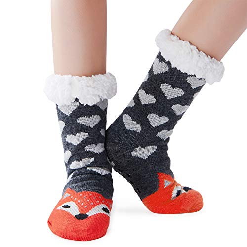 RAISEVERN Kids Boys Girls Non Slip Sherpa Slipper Socks Christmas Cute Snowflake Knit Lounge Socks Winter Thick Fleece Lined Socks