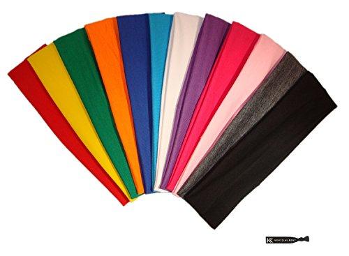 Assorted Band (Kenz Laurenz 12-Piece Cotton Elastic Stretch Headbands, Assorted Colors)