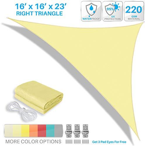 PATIO Paradise 16′ x 16′ x 23′ Waterproof Sun Shade Sail-Canary Yellow Triangle UV Block Durable Awning Canopy Outdoor Garden Backyard For Sale