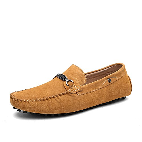 Tentoes Mens Semsket Driv Loafers Sko Med Motemetallstang Ornament Gul Brun