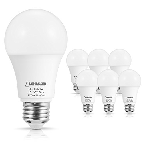LOHAS 60W Equivalent A19 Light Bulbs, 9Watt LED Bulbs E26 Base, Warm White 2700K Lights, 120V, Not Dimmable, 810LM, Household Lighting for Indoor Bedroom, Not-Dimmable, 6 Pack