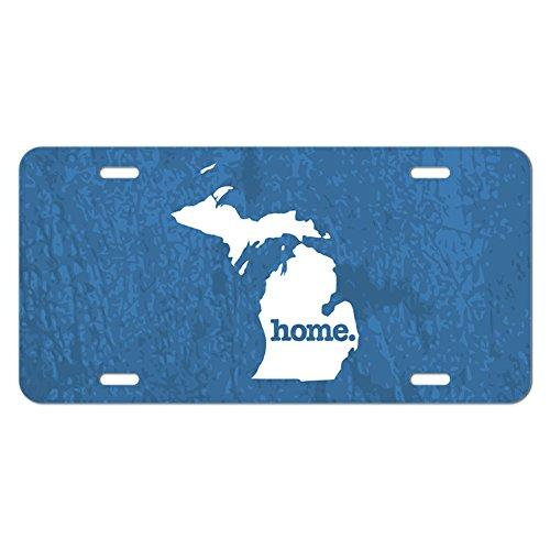 Michigan MI Home State Novelty Metal Vanity License Tag Plate - Textured Denim Blue Denim Plate
