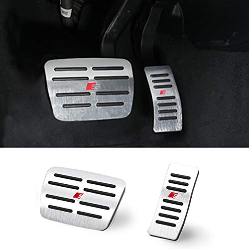TTCR-II Pedal Covers for Audi A4 A5 A6 A7 A8 Q5 Q7, No Drill Anti-Slip Aluminum-Alloy Brake and Gas Pedal Pad (Automatic Transmission, 2 Sets) (Pedal Covers for Audi Q5)