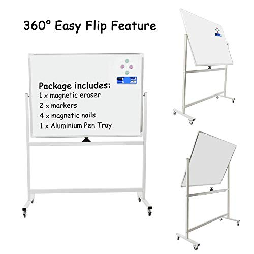 Double-sided Mobile Dry Erase Board with Stand - Aluminum Frame Magnetic Whiteboard on Wheels - 48