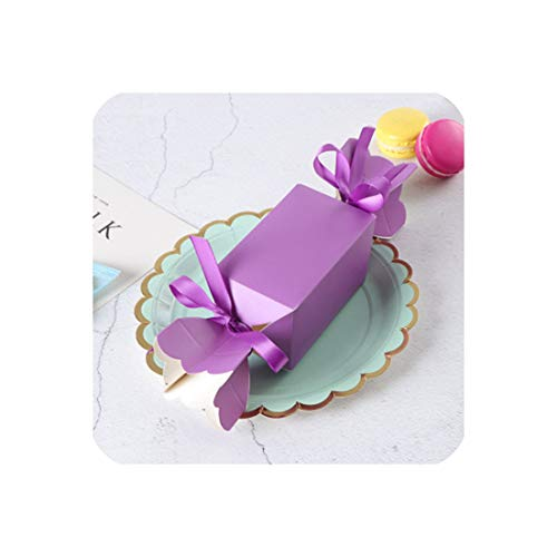 50 Pcs Gift Box Candy Babyshower Wedding Party Favors Cardboard Boxes Solid Paper Bonbonniere Sugar Dragees Sweets Box Birthday,Purple,6X6X10 cm