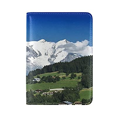 Mountains Snowy Sky Leather Passport Holder Cover Case Travel One Pocket