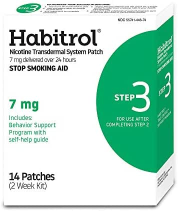 Habitrol Nicotine Transdermal System Patch | Stop Smoking Aid | Step 3 (7 mg) | 14 Patches | (2 Week Kit) | Packaging May Vary