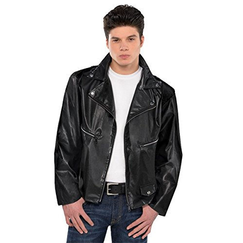 1950's Greaser Costume (Fabulous '50s Costume Party Greaser Jacket - Adult Standard, Black, Faux Leather, 1-Piece)