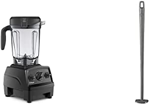 Vitamix Explorian Blender, Professional-Grade, 64 oz. Low-Profile Container, Black (Renewed) - 65542 & Blade Scraper Accessory, Grey