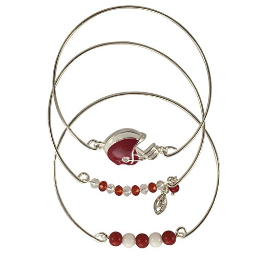 School Colors Football Theme Set of 3 Wire Silver Tone Beaded Bangle Bracelets (Red and White) by Gypsy Jewels