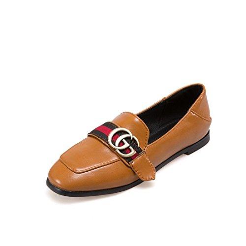 Zapatos Planos DEDE Europeos los Señoras los Comodos de Zapatos la Cabezas Sandalette Zapatos Calzado Superficial y Frijoles Americanos cuadradas Zapatos Superficial yellow Plaza ZFYdSq