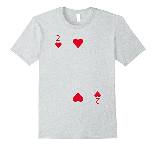 Mens 2 of Hearts Playing Card Matching Halloween Costume T-shirt Small Heather Grey (Funny Halloween Costumes For 2 Best Friends)