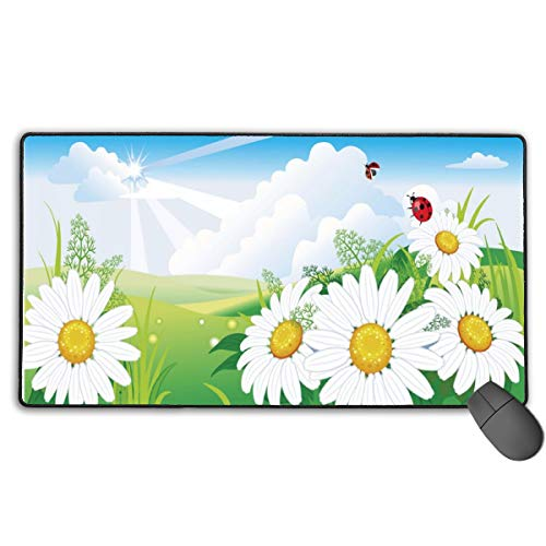 Large Mouse Pad XL,Daisies Ladybug Design Extended Gaming Mouse Pad Mat Desk Pad Non-Slip Rubber Mousepad with Stitched Edges 40x75 cm ()