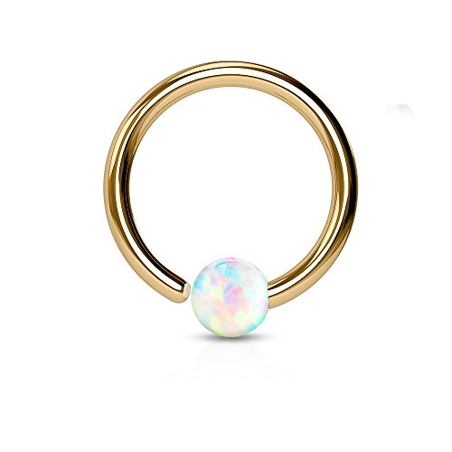 - Rose Gold IP Plated White Synthetic Opal Ball Fixed On End Bendable Ring (Sold Individually) (18G, L: 3/8