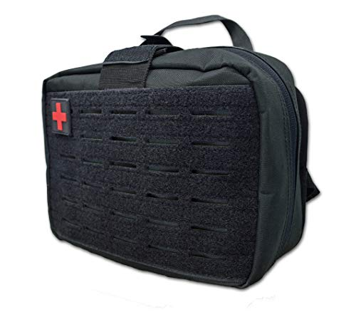 Lightning X Products Large IFAK Trauma Bag for Car Head Rest - MOLLE Compatible + Laser Cut + Detachable Pouch - Black