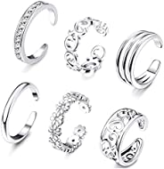 FUNRUN JEWELRY 6PCS Adjustable Toe Ring for Women Girls Open Tail Ring Band Hawaiian Foot Jewelry