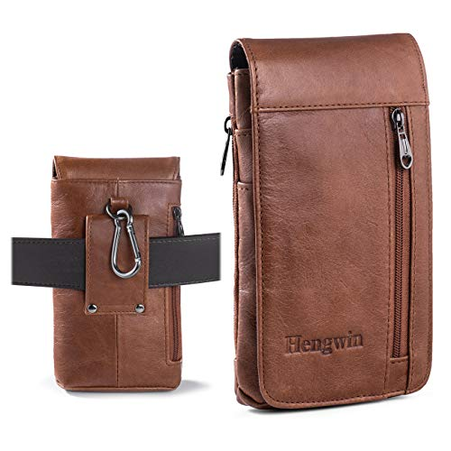 Hengwin Cell Phone Holster Pouch Vertical Leather iPhone Holster Case with Belt Loop Men Travel Purse Waist Bag Belt Clip Holster for iPhone XR Samsung S9 S8 Plus - Travel Travel Vertical Case