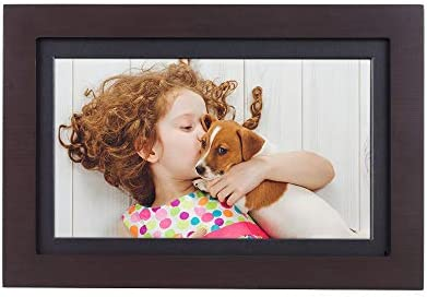"Brookstone PhotoShare Friends and Family Smart Frame, Digital Picture, WiFi, HD, Family Photo Album Slideshow, Tabletop End Table, Home Décor, 14"", Espresso"