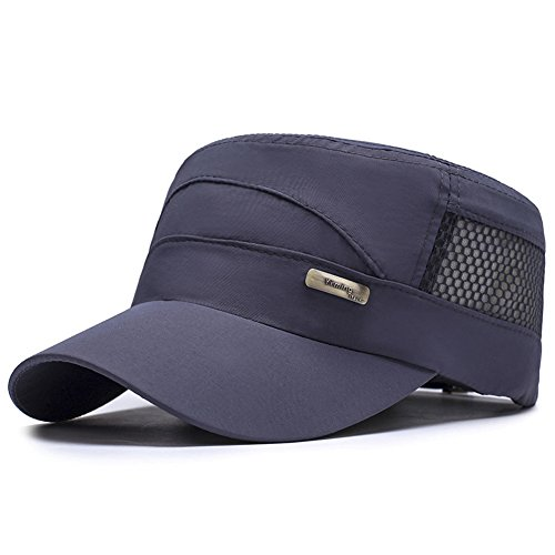 ChezAbbey Unisex Quick Dry Flat Top Cadet Caps Adjustable Snapback Corps Military Stylish Mesh Behind Flat Top Hats Dark Gray ()