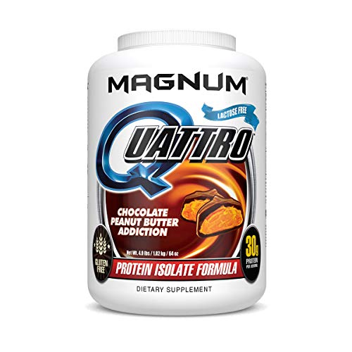 Magnum Nutraceuticals Quattro Protein Powder – Pharmaceutical Grade Protein Isolate – Lactose Free – Gluten Free – Peanut Free (4lb, Chocolate Peanut Butter Addiction)
