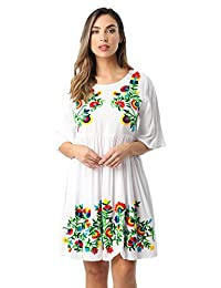 04efa5db207 Riviera Sun Rayon Crepe Short Dress with Multicolored Embroidery