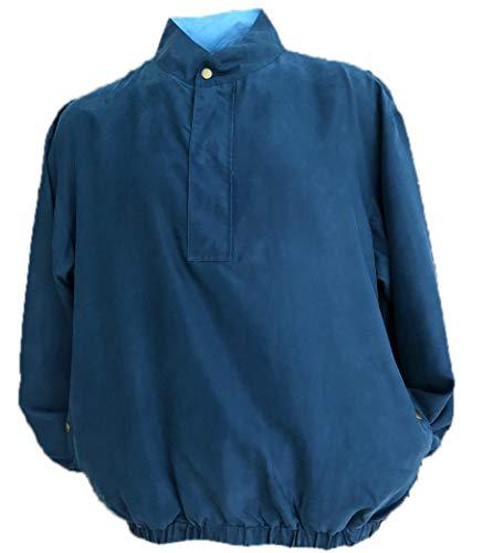 Men's Silk Lightweight Long Sleeve Half-Zip Golf Jacket Water Repellent (XXL, Navy)