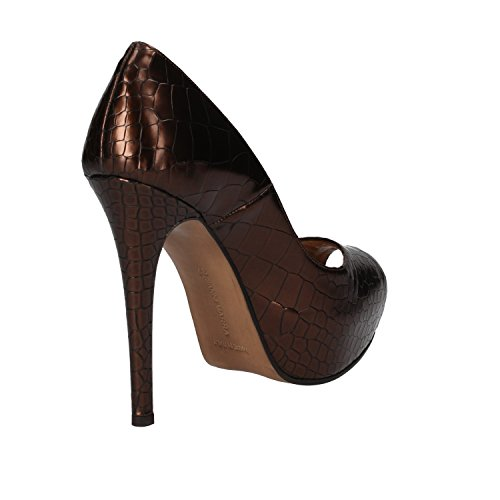 GIANNI MARRA Zapatos de Salón Mujer 37 EU Marrón Cuero Brillante AD121-B