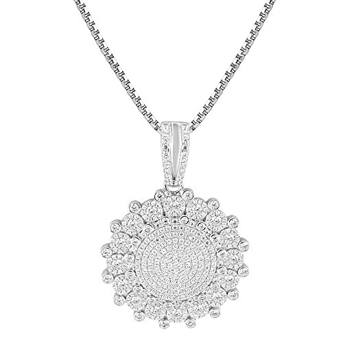 Solitaire Cluster Set Pendant Sterling Silver Simulated Diamond Box Necklace Charm by Master Of Bling