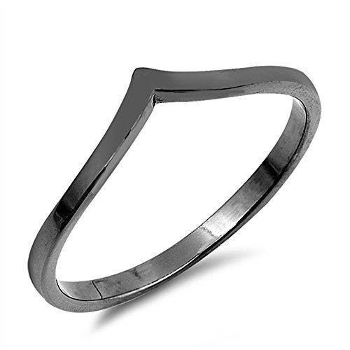 Black-Tone Pointed Chevron Thumb Ring Sterling Silver Stackable Band Size ()
