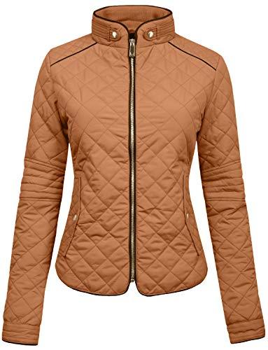 Quilted Puffer Jacket - NE PEOPLE Womens Lightweight Quilted Zip Jacket, Medium, NEWJ22CAMEL
