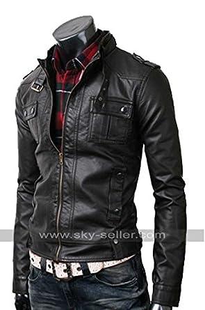 Slim Fit Mens Strap Pocket Black Leather Jacket (Clearance Sale ...