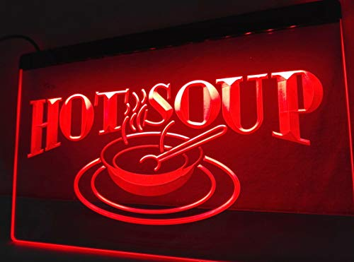- HOT Soup Neon Sign for Restaurant Food Cafe Bar Pub Store 11.8inch x 7.8inch - Red Colour