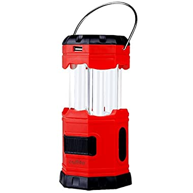 [Solar Rechargeable LED Collapsible camping Lantern] Outlite 300 Lumen Portable camping light ( Water resistant Outdoor Survival lighting Lamp ) with 2  S  Hook for Hiking Emergency Hurricane Outages