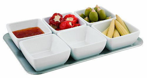 (Aps Paderno World Cuisine Melamine Tray and 6 Bowl Set)