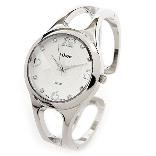 Silver Round Crystal Hours Small Size Women's Bangle Cuff Watch