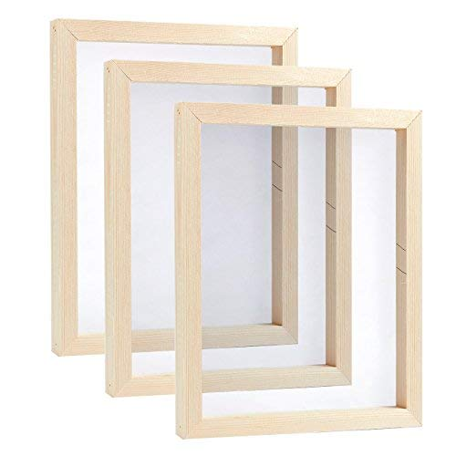 3 Pack Juvale Natural Wooden Mesh Screen Printing Frame Set, 8 x 10 Inches