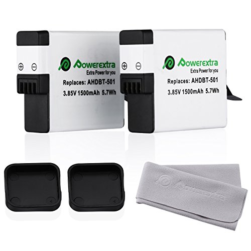 Powerextra 2 Pack Replacement Battery for GoPro HERO5, HERO 5 Black (Compatible with Firmware v02.00 , v01.57 and v01.55)