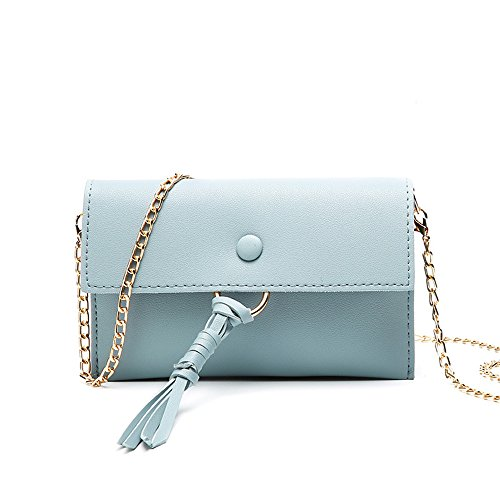 FangYOU1314 Envelope Color Wild Bag Leisure Shoulder Pink Fringe Blue Bag Slung Hand PU FqaFr