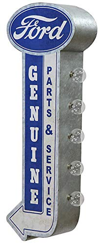 Ford Parts Service Garage - Reproduction Vintage Advertising Sign - Battery Powered LED Lights, Double Sided Metal Wall Mounted - 25 x 9 x 4 inches