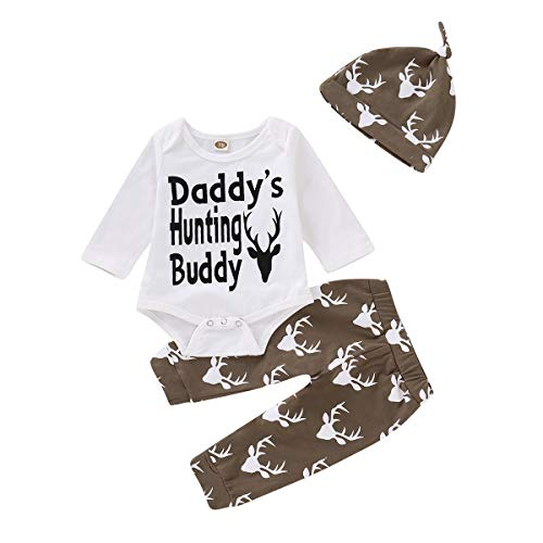 Mikrdoo Toddler Baby Boys Letter Printed Bodysuits Deer Pants Leggings with Hat 3pcs Outfit Clothes (6-12 Months, ()