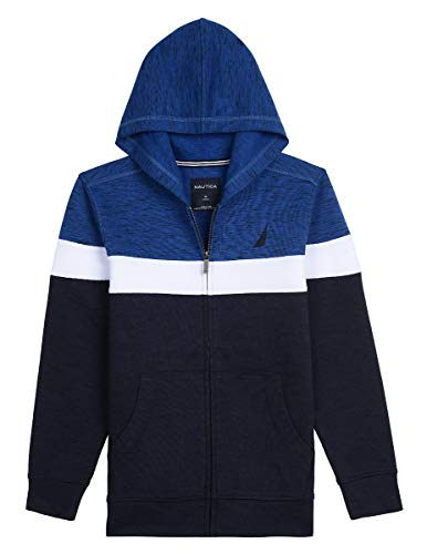 Nautica Boy's Big Fleece Full Zip Hoodie, Kearney Cobalt, Small (8)
