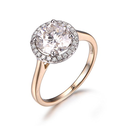 (7.5mm Round Charles Colvard Moissanite Engagement Ring,Halo,14K Plain Yellow Gold,Two Tone Gold Available)