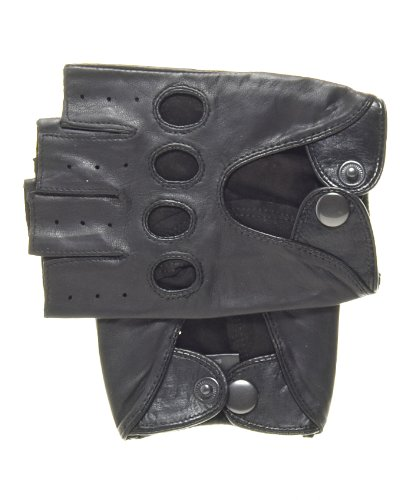 - Pratt and Hart Men's Shorty Leather Driving Gloves (Fingerless) Size L Color Black