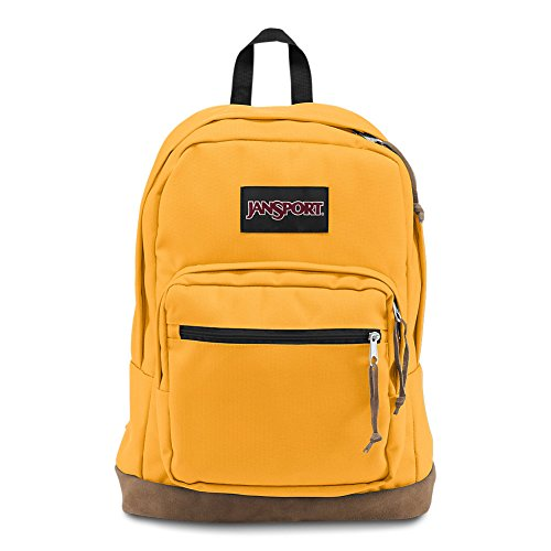 JanSport Backpack for Girls Mustard Suede Leather Bottom Lap