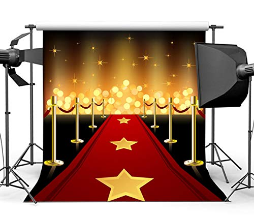 Sensfun Glitter Gold Lighting Red Carpet Backdrop Hollywood Themed Party Banner Decoration Photo Background Studio Photography Props Vinyl 6x6ft]()