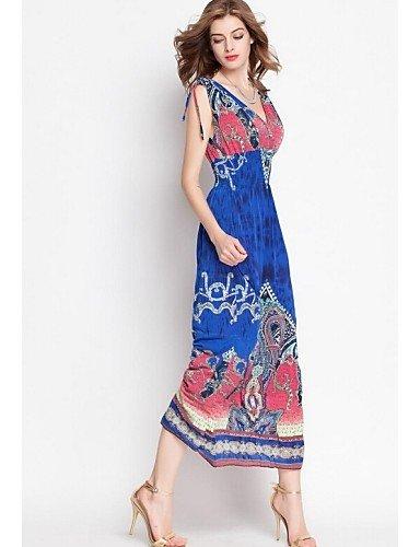 PU&PU Robe Aux femmes Swing Vintage / Bohème,Imprimé V Profond Maxi Polyester , light blue-m , light blue-m